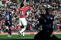 Photo. Aidan Ellis<br />Manchester United v Arsenal. FA Cup Rd 5. 15/02/03<br />United's Ryan giggs cant believe he has just put an open goal chance over the bar