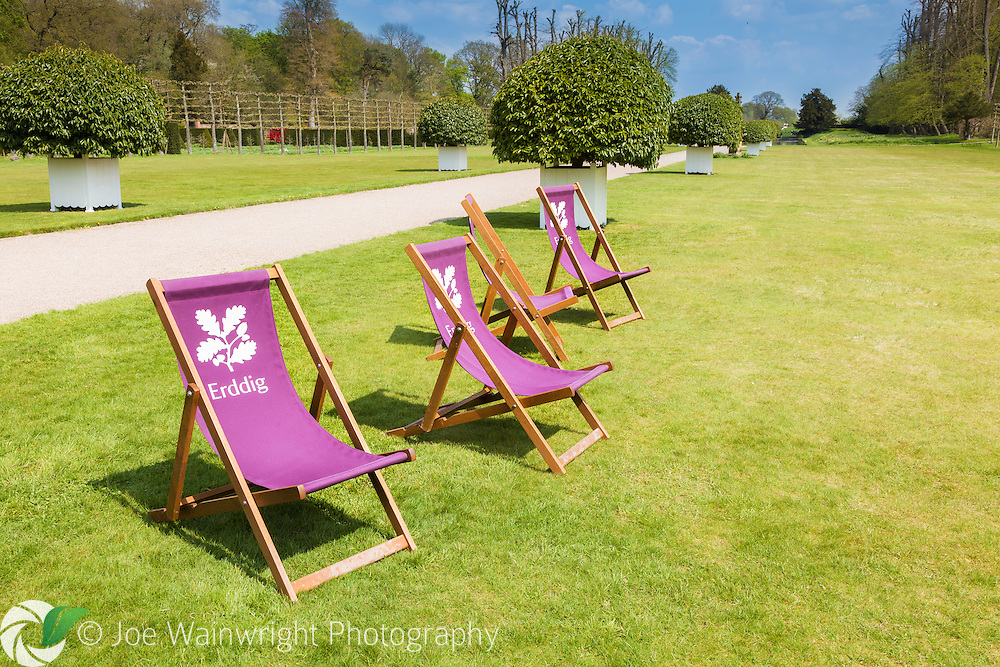 National Trust deckchairs on the lawn in the gardens of Erddig Hall, Wrexham, photographed in May.