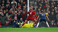 Football - 2018 / 2019 Premier League - Liverpool vs. Manchester United<br /> <br /> Jesse Lingard of Manchester United scores at Anfield.<br /> <br /> COLORSPORT/LYNNE CAMERON