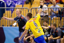 Gasper Marguc of Celje celebrates during handball match between RK Celje Pivovarna Lasko and IK Savehof (SWE) in 3rd Round of Group B of EHF Champions League 2012/13 on October 13, 2012 in Arena Zlatorog, Celje, Slovenia. (Photo By Vid Ponikvar / Sportida)