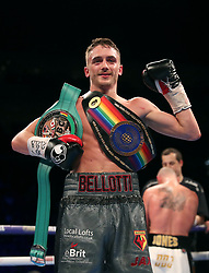 Reece Belotti celebrates victory against Ben Jones in the Commonwealth Featherweight Championship bout at The O2 Arena, London.