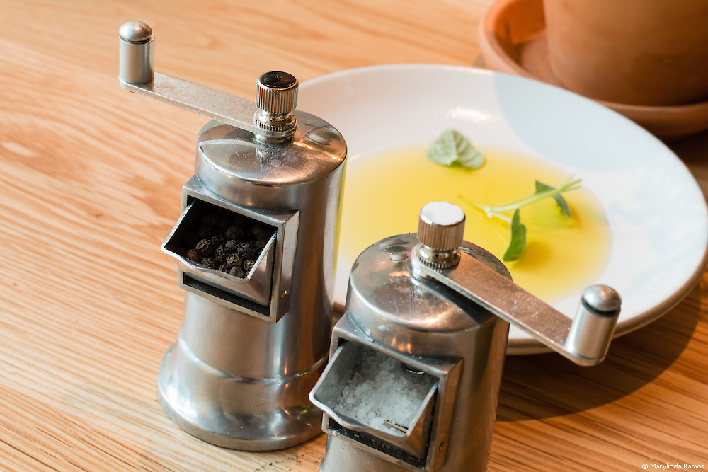 Michael's Olive Oil (he has his own brand) is garnished with herbs grown in-house and freshly ground salt and pepper.