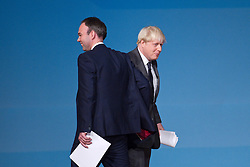 © Licensed to London News Pictures. 09/10/2012. Birmingham , UK . Gavin Barlow , MP for Croydon , introduces Boris Johnson , the Mayor of London , to the conference . Day 3 of the Conservative Party Conference at the International Convention Centre in Birmingham . Photo credit : Joel Goodman/LNP