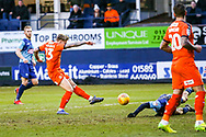 Luton Town forward Jason Cummings shoots towards the goal during the EFL Sky Bet League 1 match between Luton Town and Wycombe Wanderers at Kenilworth Road, Luton, England on 9 February 2019.