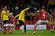 Andre Carrillo of Watford © scores his team's first goal. The Emirates FA Cup, 3rd round match, Watford v Bristol City  at Vicarage Road in Watford, London on Saturday 6th January 2018.<br /> pic by Steffan Bowen, Andrew Orchard sports photography.