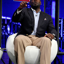 06 February, 2010: Emmitt Smith talks on stage about John Randle (not pictured) after it was announced Randle was voted in as one of the newest Enhrinees into the Hall of Fame during a press conference for the Pro Football Hall of Fame Class of 2010 Enshrinees held at the Greater Ft. Lauderdale/Broward County Convention Center in Fort Lauderdale, Florida.