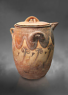 Minoan small bridge spouted jars decorated with lilies, Machlos 1500-1400 BC; Heraklion Archaeological  Museum, grey background. .<br /> <br /> If you prefer to buy from our ALAMY PHOTO LIBRARY  Collection visit : https://www.alamy.com/portfolio/paul-williams-funkystock/minoan-art-artefacts.html . Type -   Heraklion   - into the LOWER SEARCH WITHIN GALLERY box. Refine search by adding background colour, place, museum etc<br /> <br /> Visit our MINOAN ART PHOTO COLLECTIONS for more photos to download  as wall art prints https://funkystock.photoshelter.com/gallery-collection/Ancient-Minoans-Art-Artefacts-Antiquities-Historic-Places-Pictures-Images-of/C0000ricT2SU_M9w