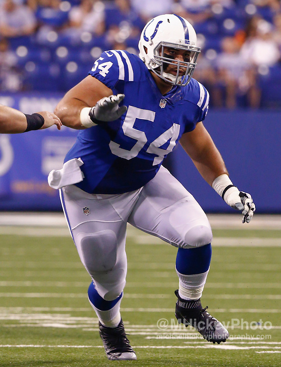 INDIANAPOLIS, IN - SEPTEMBER 3: David Parry #54 of the Indianapolis Colts is seen during the game against the Cincinnati Bengals at Lucas Oil Stadium on September 3, 2015 in Indianapolis, Indiana. (Photo by Michael Hickey/Getty Images) *** Local Caption *** David Parry