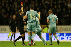 9th December 2017 - Sky Bet EFL Championship - Wolverhampton Wanderers v Sunderland - Lee Cattermole of Sunderland is shown the red card and sent off - Photo: Simon Stacpoole / Offside.