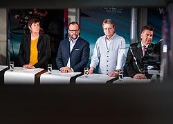 22.04.2018, Wahlzentrum, Salzburg, AUT, Salzburger Landtagswahl, im Bild GRÜNE Spitzenkandidatin Astrid Rössler, NEOS Spitzenkandidat Sepp Schellhorn, FPS Spitzenkandidat Karl Schnell, SBG Spitzenkandidat Hans Mayr // during the Salzburg state election 2018 in the election center in Salzburg, Austria on 2018/04/22. EXPA Pictures © 2018, PhotoCredit: EXPA/ JFK