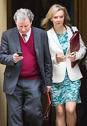 Downing Street, London, November 17th 2015. Oliver Letwin and Liz Truss leave 10 Downing Street following the weekly cabinet meeting.