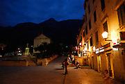 Night-time view of town square, Kacicev trg, Makarska, Croatia