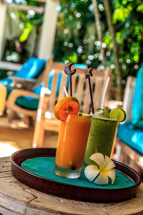 Fresh juices served in the Evason Phuket Six Senses Spa in Phuket, Thailand.