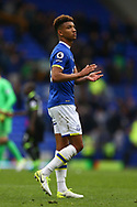Mason Holgate of Everton looking dejected at the end of the game. Premier league match, Everton v Chelsea at Goodison Park in Liverpool, Merseyside on Sunday 30th April 2017.<br /> pic by Chris Stading, Andrew Orchard sports photography.