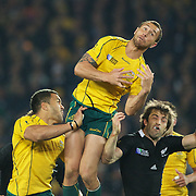 Quade Cooper, Australia, fails to take a high ball during the New Zealand V Australia Semi Final match at the IRB Rugby World Cup tournament, Eden Park, Auckland, New Zealand, 16th October 2011. Photo Tim Clayton...