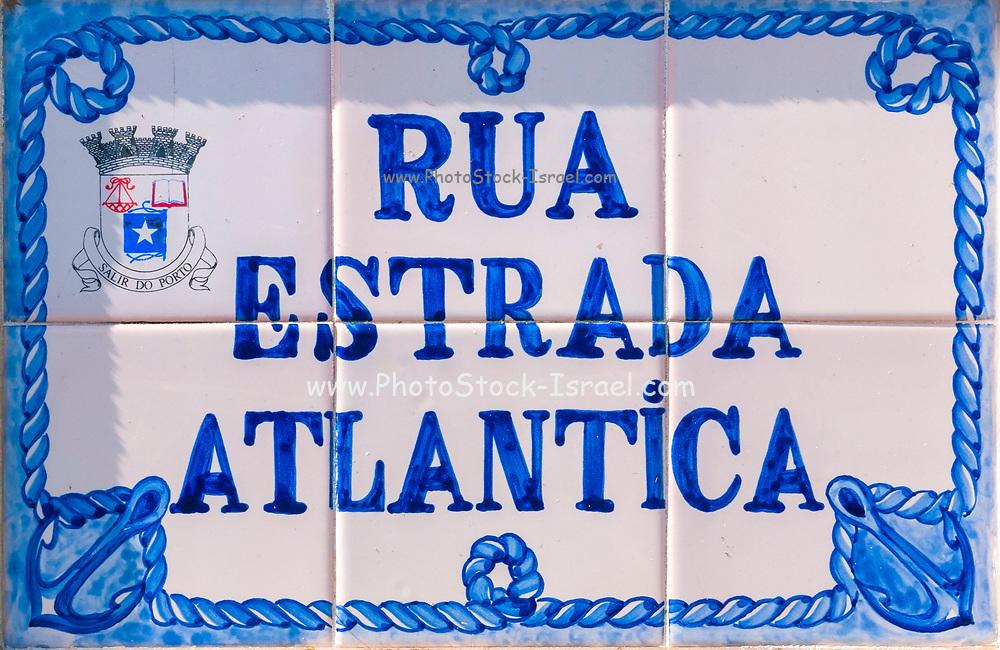 Painted Ceramic tiles sign of Rua Estrada Atlantica (Atlantic Road) Sao Martinho do Porto, Portugal