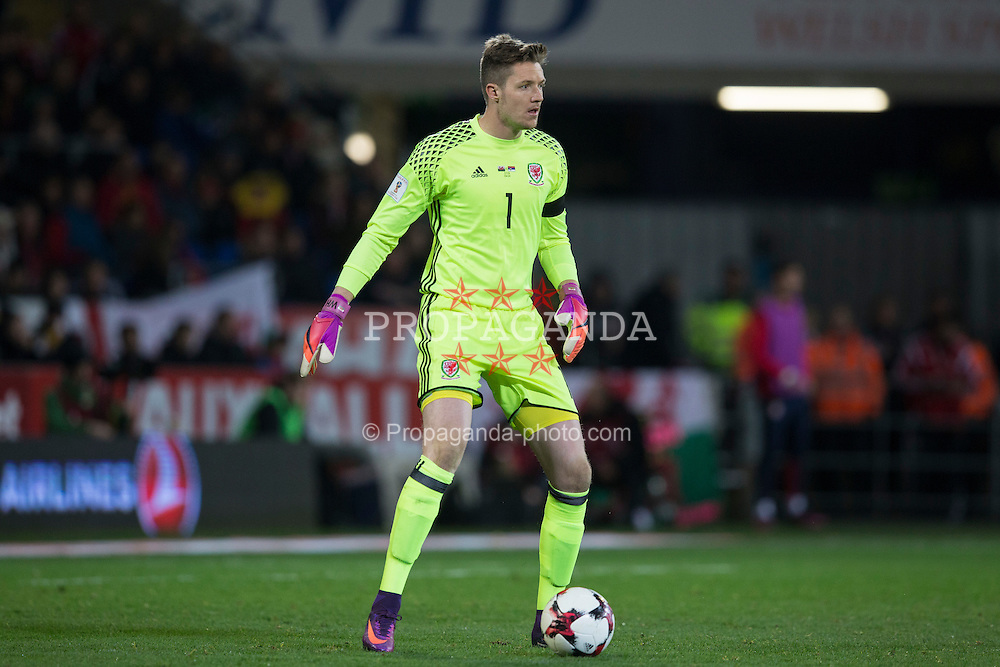 CARDIFF, WALES - Saturday, November 12, 2016: Wales' goalkeeper Wayne Hennessey in action against Serbia during the 2018 FIFA World Cup Qualifying Group D match at the Cardiff City Stadium. (Pic by David Rawcliffe/Propaganda)