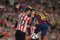 Barcelona´s Neymar Jr and Luis Suarez and Athletic de Bilbao´s Aritz Aduriz during 2014-15 Copa del Rey final match between Barcelona and Athletic de Bilbao at Camp Nou stadium in Barcelona, Spain. May 30, 2015. (ALTERPHOTOS/Victor Blanco)