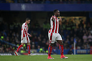 Saido Berahino of Stoke City protests during the game. <br /> Premier league match, Chelsea v Stoke city at Stamford Bridge in London on Saturday 30th December 2017.<br /> pic by Kieran Clarke, Andrew Orchard sports photography.