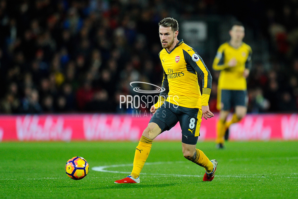 Aaron Ramsey (8) of Arsenal on the attack during the Premier League match between Bournemouth and Arsenal at the Vitality Stadium, Bournemouth, England on 3 January 2017. Photo by Graham Hunt.