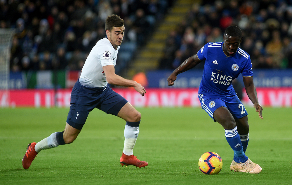 Tottenham Hotspur's Ben Davies battles with Leicester City's Nampalys Mendy<br /> <br /> Photographer Hannah Fountain/CameraSport<br /> <br /> The Premier League - Leicester City v Tottenham Hotspur - Saturday 8th December 2018 - King Power Stadium - Leicester<br /> <br /> World Copyright © 2018 CameraSport. All rights reserved. 43 Linden Ave. Countesthorpe. Leicester. England. LE8 5PG - Tel: +44 (0) 116 277 4147 - admin@camerasport.com - www.camerasport.com