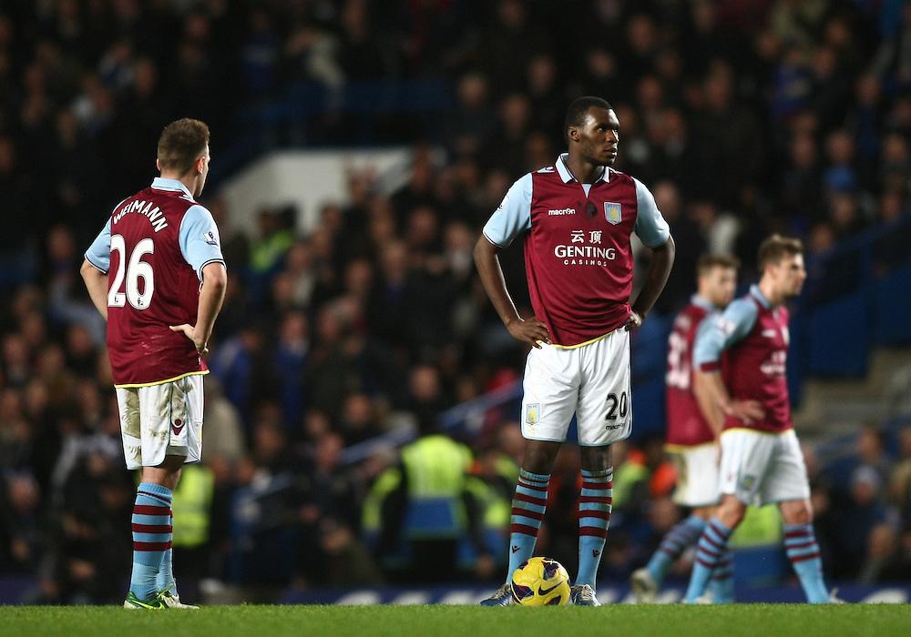 Dejected Aston Villa's Christian Benteke ..Football - Barclays Premiership - Chelsea v Aston Villa - Sunday 23rd December 2012 - Stamford Bridge - London..