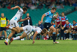 March 23, 2019 - Sydney, NSW, U.S. - SYDNEY, NSW - MARCH 23: Waratahs player Cam Clark (14) races to the corner to score a try at round 6 of Super Rugby between NSW Waratahs and Crusaders on March 23, 2019 at The Sydney Cricket Ground, NSW. (Photo by Speed Media/Icon Sportswire) (Credit Image: © Speed Media/Icon SMI via ZUMA Press)