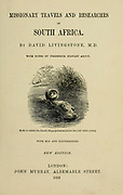 Book title and a Vignette of a female hippopotamus carrying her young From the book ' Missionary travels and researches in South Africa ' by Livingstone, David, 1813-1873; Arnot, Fred. S. (Frederick Stanley), 1858-1914; Published in London by J. Murray in 1899