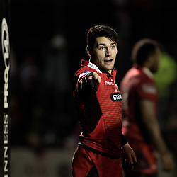Edinburghs' Sam Hidalgo-Clyne gives instructions to his team mates.<br /> <br /> Photographer Simon Latham/Replay Images<br /> <br /> Guinness PRO14 - Dragons v Edinburgh - Friday 23rd February 2018 - Eugene Cross Park - Ebbw Vale<br /> <br /> World Copyright © Replay Images . All rights reserved. info@replayimages.co.uk - http://replayimages.co.uk