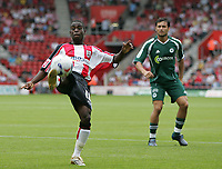 Photo: Lee Earle.<br /> Southampton v Panathinaikos. Pre Season Friendly. 29/07/2006. Saint's Nathan Dyer clears.