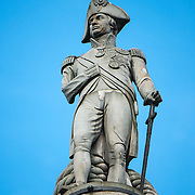 Statue of Admiral Horatio Nelson that sits atop Nelson's Column in Trafalgar Square in central London.