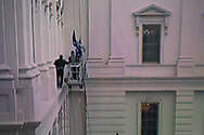 BELGIUM, Brussels. 6/01/2021: The insurrection by crowds loyal to and fueled by President Donald Trump are storming Capitol Hill on the day of the confirmation of Joe Biden being President Elect, as seen on television.