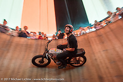 Kyle Ives racing around the inside of his Ives Brothers Wall of Death at the Harley-Davidson display at the Daytona Speedway during Daytona Bike Week. Daytona Beach, FL. USA. Monday March 13, 2017. Photography ©2017 Michael Lichter.