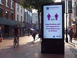 Reading Council Coronavirus awareness information on display panel, UK Sep2020