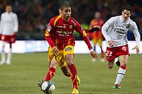 FOOTBALL - FRENCH CHAMPIONSHIP 2009/2010 - L1 - RC LENS v PARIS SAINT GERMAIN - 6/03/2010 - PHOTO CHRISTOPHE ELISE / DPPI - KEVIN MONNET-PAQUET (LENS)