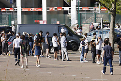 © Licensed to London News Pictures. 31/05/2021. London, UK.  Queues form outside England's biggest vaccine centre at Twickenham Stadium in south west London after the centre said they will vaccinate anyone over the age of 18 until today up to 7:30pm. . Photo credit: Peter Macdiarmid/LNP
