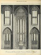 Elevation of the Chancel of the Church of Batalha in Portugal Copperplate engraving of From the Encyclopaedia Londinensis or, Universal dictionary of arts, sciences, and literature; Volume II;  Edited by Wilkes, John. Published in London in 1810