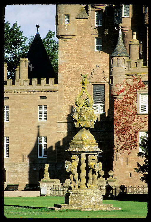 Highly accurate baroque sundial (circa 1670) with facets for each week of year stands 21 feet tall; Glamis Castle, Scotland.