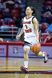 28 December 2009: Alexis Jenkins. It was Kristi Cirone night, but The Blue Demons of DePaul University cling to the lead beating the Redbirds of Illinois State University by a score of 63-61 on Doug Collins Court in Redbird Arena in Normal Illinois.