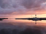 Sunset over Ebeltoft Harbour, Denmark