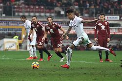 January 6, 2018 - Turin, Italy - Bologna midfielder Erick Pulgar (5) shoots the ball by penalty kick during the Serie A football match n.20 TORINO - BOLOGNA on 06/01/2018 at the Stadio Olimpico Grande Torino in Turin, Italy. (Credit Image: © Matteo Bottanelli/NurPhoto via ZUMA Press)
