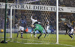 Millwall's DJ Cambell scores his sides first goal 1-1 - Photo mandatory by-line: Robin White/JMP - Tel: Mobile: 07966 386802 28/01/2014 - SPORT - FOOTBALL - The Den - Millwall - Millwall v Sheffield Wednesday - Sky Bet Championship