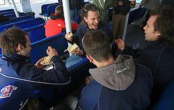 Andrej Hebar, Gregor Poloncic, Jurij Golicic (his back) and David Rodman at whale watching boat when some guys  were celebrating an anniversary of playing for Slovenian National Team for 100 (120) times, during IIHF WC 2008 in Halifax,  on May 07, 2008, sea at Halifax, Nova Scotia,Canada.(Photo by Vid Ponikvar / Sportal Images)