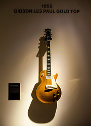David Gilmour Guitar Collection<br /> Press view<br /> <br /> Gibson Les Paul Gold Top 1955 <br /> <br /> The personal guitar collection of rock'n'roll legend David Gilmour, guitarist, singer and songwriter of Pink Floyd is unveiled at Christies, London, Great Britain <br /> 27th March 2019<br /> <br /> For the very first time, Christie's will unveil the much-anticipated preview of the personal guitar collection of rock'n'roll legend David Gilmour, guitarist, singer and songwriter of Pink Floyd, to media on Wednesday 27 March at 9.30am. The first stop for the pre-sale touring exhibition, the view will provide a once in a lifetime opportunity to see the 120+ guitar highlights being sold,<br /> with proceeds to benefit charity.<br />  <br /> The exhibition will be on view to the public from 27 to 31 March 2019. Entry will be free, with timed-tickets.<br /> <br /> Photograph by Elliott Franks