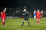 Accrington players celebrate as Referee Dean Whitestone  blows for full time during the The FA Cup 3rd round match between Accrington Stanley and Ipswich Town at the Fraser Eagle Stadium, Accrington, England on 5 January 2019.