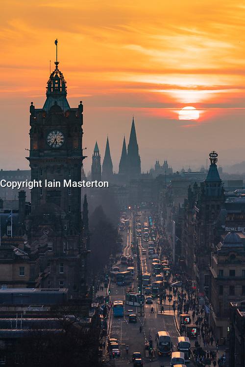 Edinburgh, Scotland, UK. 27 February, 2019. View at sunset along Princes Street  from Calton Hill in Edinburgh