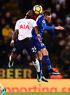 Serge Aurier of Tottenham Hotspur battles with Jamie Vardy of Leicester city (r) for a header .Premier league match, Leicester City v Tottenham Hotspur at the King Power Stadium in Leicester, Leicestershire on Tuesday 28th November 2017.<br /> pic by Bradley Collyer, Andrew Orchard sports photography.