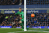 Crystal Palace Goalkeeper Wayne Hennessey watches the ball go just wide of his goal. Barclays Premier league match, Everton v Crystal Palace at Goodison Park in Liverpool, Merseyside on Monday 7th December 2015.<br /> pic by Chris Stading, Andrew Orchard sports photography.