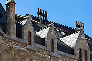 Rear view of Caja Espana savings bank in Casa Botines designed by architect Antoni Gaudi - Antony Gaudi - in Leon, Castilla y Leon, Spain