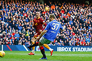 Scott Arfield of Rangers opens the scoring during the Ladbrokes Scottish Premiership match between Rangers and Motherwell at Ibrox, Glasgow, Scotland on Sunday 11th November 2018.